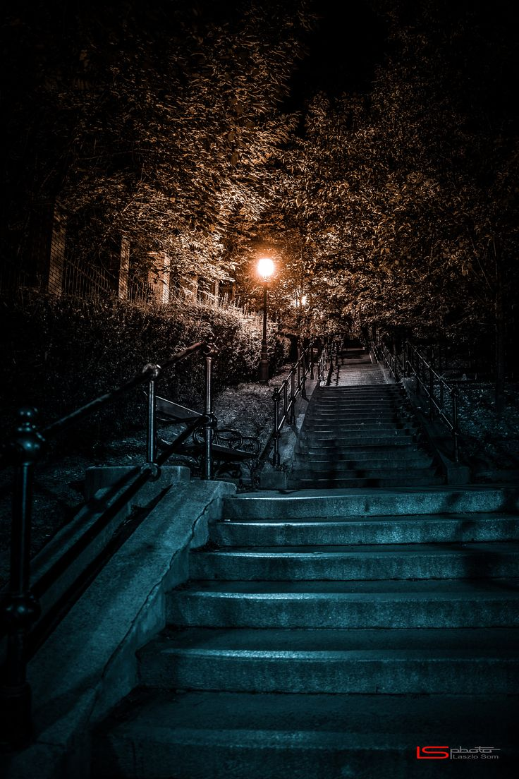 Stairs in the Night - Walk in the night through, the old town in Budapest.