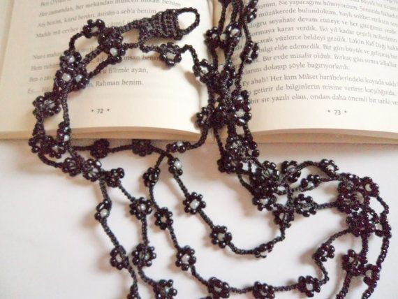 Black   colors  beaded necklace handmade gift  by modelknitting