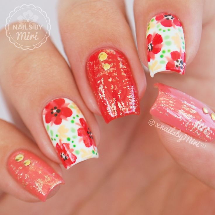1062 best nail art flowers images on pinterest nail art beauty spring floral nail art by xnailsbymiri prinsesfo Image collections