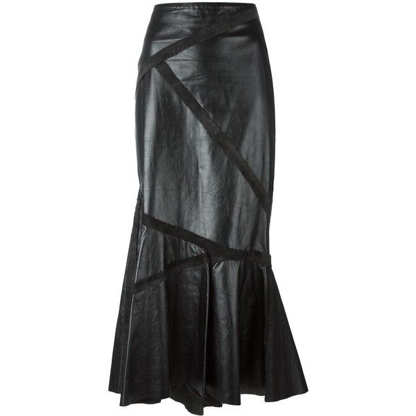 Pre-owned Jean Paul Gaultier Vintage long leather skirt (£765) ❤ liked on Polyvore featuring skirts, black, fishtail skirt, real leather skirt, jean paul gaultier skirts, long skirts and long leather skirt