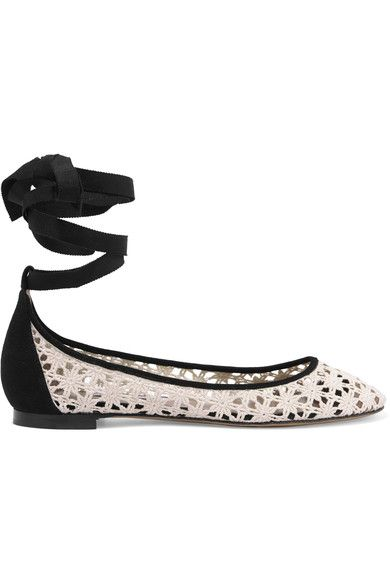 Tabitha Simmons - Daria Daisy Lace-up Suede-trimmed Crocheted Ballet Flats - Off-white - IT41