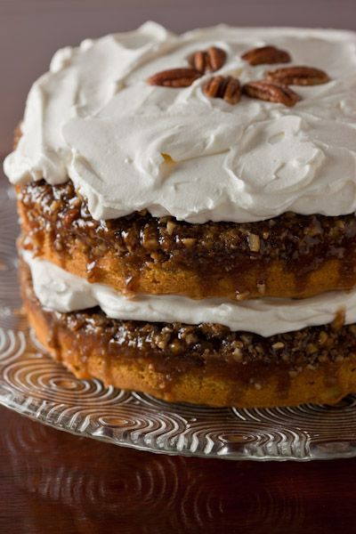 Praline Pumpkin Cake with Whipped Cream Frosting