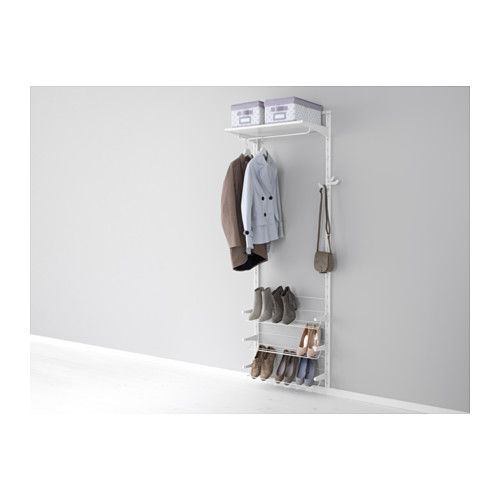 IKEA - ALGOT, Wall upright/shelves/shoe organizer, The parts in the ALGOT series can be combined in many different ways and easily adapted to your needs and space.Since you only need to click in the brackets, shelves and accessories, it is easy to assemble, adjust and change your storage solution.Can be used anywhere in your home, even in damp areas like the bathroom and under covered balconies.