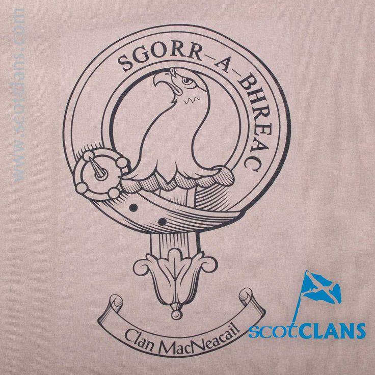MacNeacail Clan Crest Outline T Shirt detail
