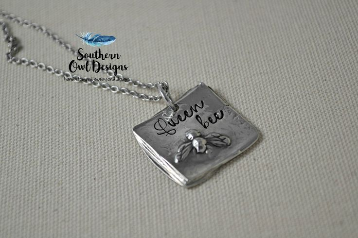 queen bee necklace - bee necklace - hand stamped queen bee necklace - pewter bee necklace - queen bee jewelry - queen bee charm by SouthernOwlDesigns on Etsy