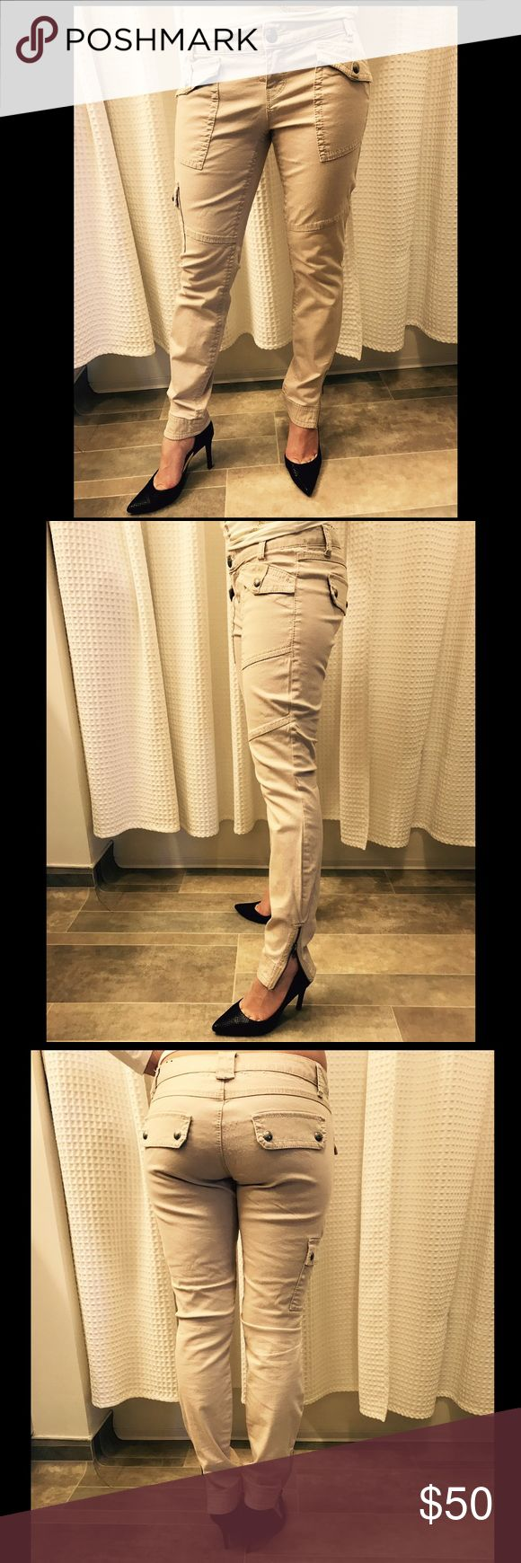"""Additional Photos! - Modeled - Express Cream Jeans Express - Women's Light Tan/Beige/Cream Colored Skinny Jeans/Leggings """"Jeggings"""" Size: 4 (S). Good condition; Some light wear on these jeans but, no significant flaws. Express Pants Skinny"""