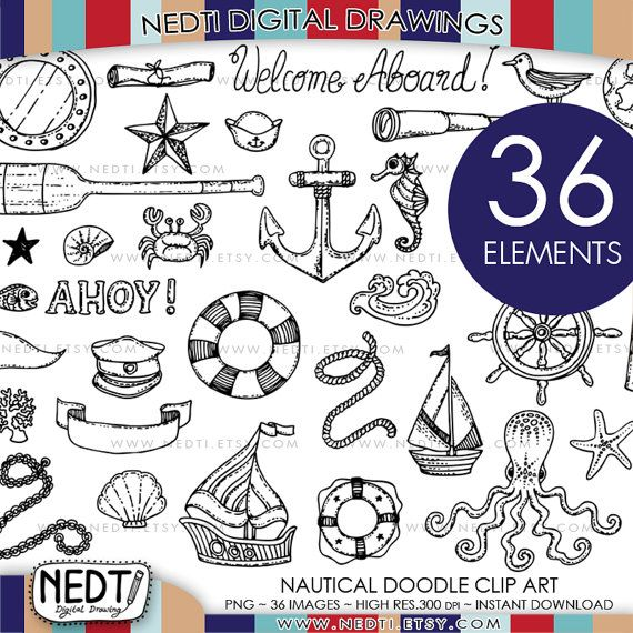 Nautical Doodle Clip Art, Anchor Clipart, Seaside, Compass, Sailor, Sailing, Sea, Shell, Ocotpus, Beach, PNG Instant Download