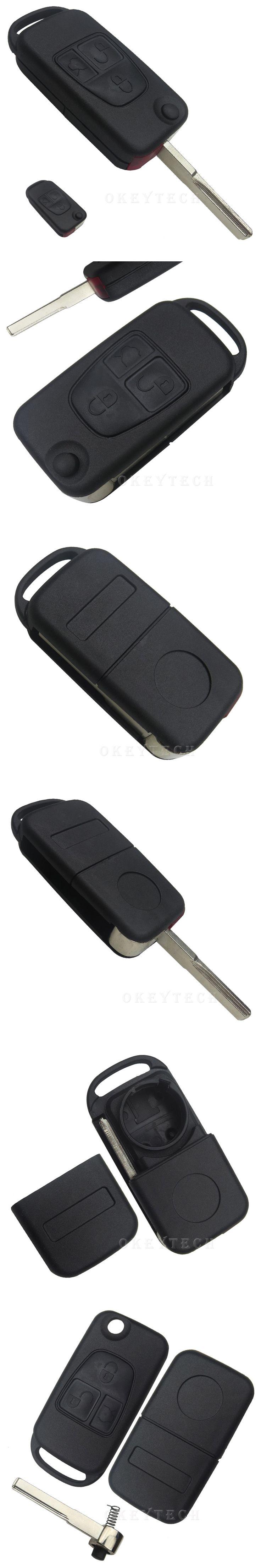 EKIY 3 Button Flip Folding Key Shell Case Fob For Mercedes Benz W168 W202 W203 ML A C E S W C S Class ML320 C230 ML430 Car Key