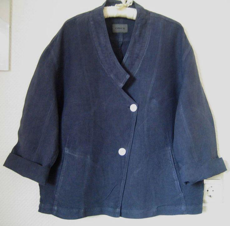 OSKA- pretty 100% linen jacket in blue - loose fitting- size II