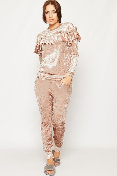 Lania Crushed Velvet Frill Loungewear Set