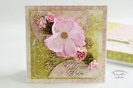 Kartka ślubna z kwiatem #3