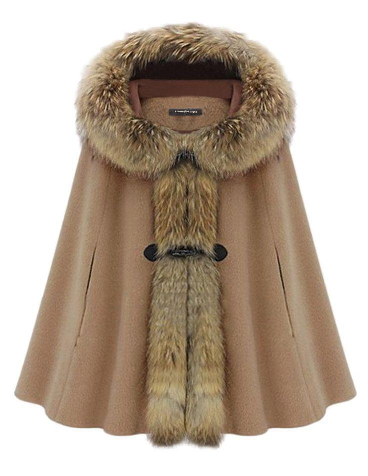 Kattee Manteau duffle-coat capuche à fourrure - Femme Cape Fourrure de martre - Luxueux Poncho Outwear Cravate: Amazon.fr: Vêtements et accessoires