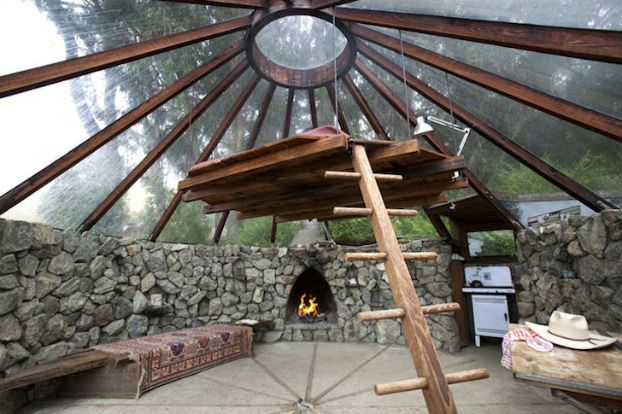 Great glass ceiling on this gorgeous, 1970's tiny house designed by architect  Mickey Muennig.