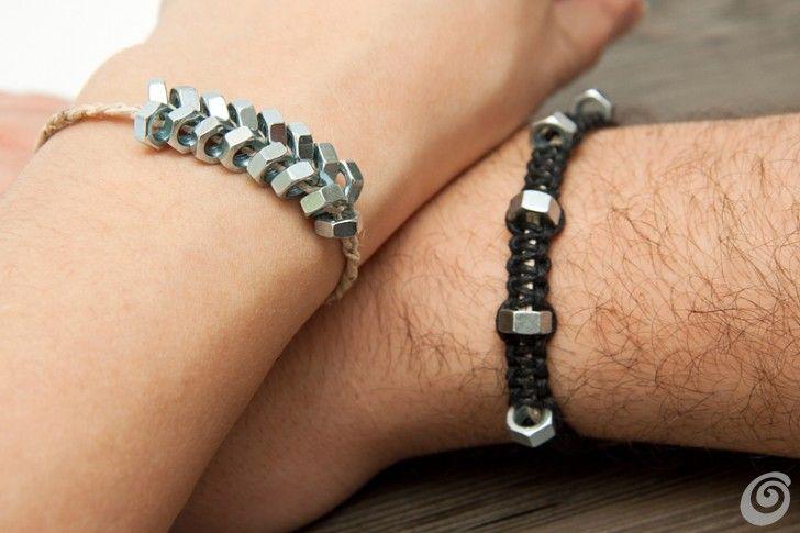 Tako se naredi (DIY) :: Moške zapestnice iz železnine / recycled DIY jewelry for men from nuts