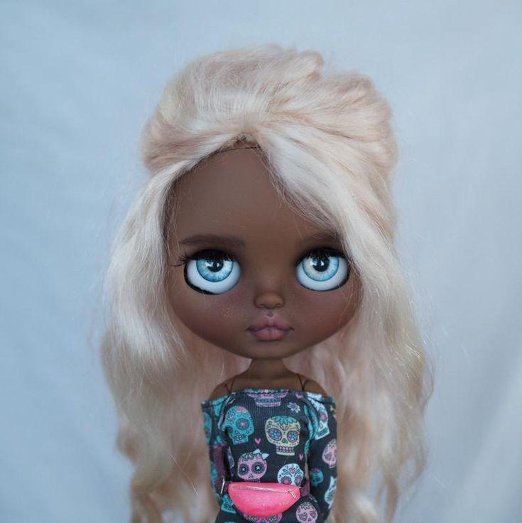Brandy••ooak custom blythe doll with mohair weft hair