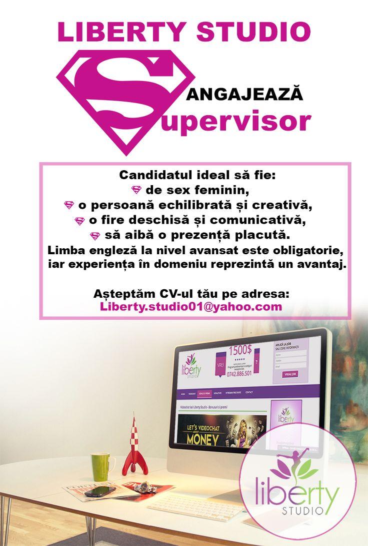 Echipa Liberty Studio se mărește!  Candidatul ideal să fie: - de sex feminin, - o persoană echilibrată și creativă,  - o fire deschisă și comunicativă, - să aibă o prezență placută.  Limba engleză la nivel avansat este obligatorie, iar experiența în domeniu reprezintă un avantaj. Așteptăm CV-ul tău pe adresa: liberty.studio01@yahoo.com