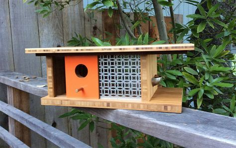 Midcentury modern-inspired birdhouses by Sourgrassbuilt