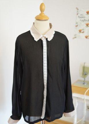 Bluse Schwarz Spitzenkragen