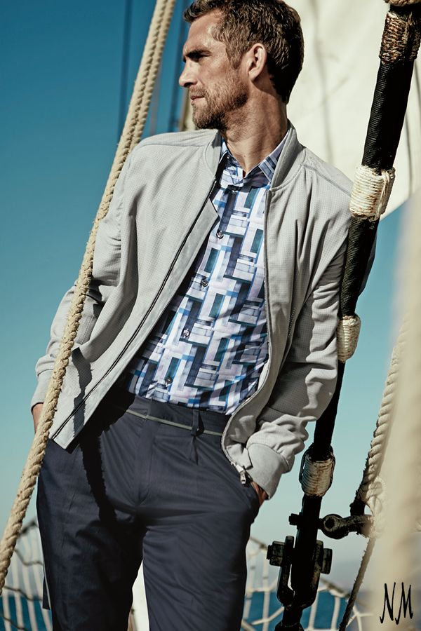 A perforated suede bomber jacket by Brioni is perfect for whatever adventure lies ahead. Work this on-trend piece with a patterned polo and Bermuda shorts for a coastal vibe.