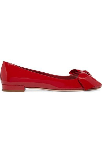 Miu Miu - Bow-embellished Patent-leather Ballet Flats - Red - IT38.5