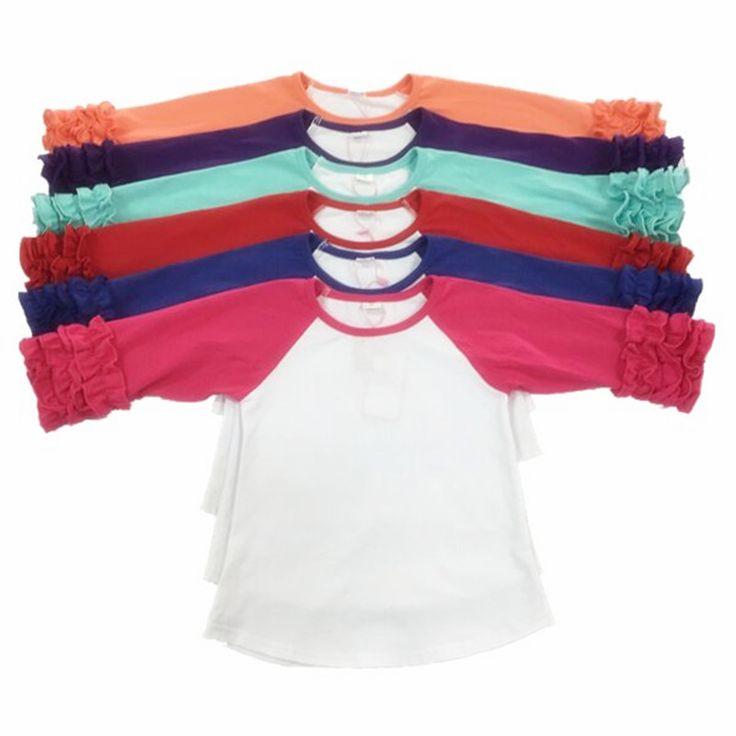 Icing Style Raglan Knit Cotton Autumn Girls Tees Cute Ruffle Three Quarter GirlsTees Raglan Birthday Baby Girls Clothes Sale #Affiliate