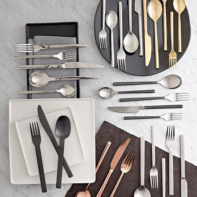 Gold, Copper, Silver And Matte Black Flatware Ship