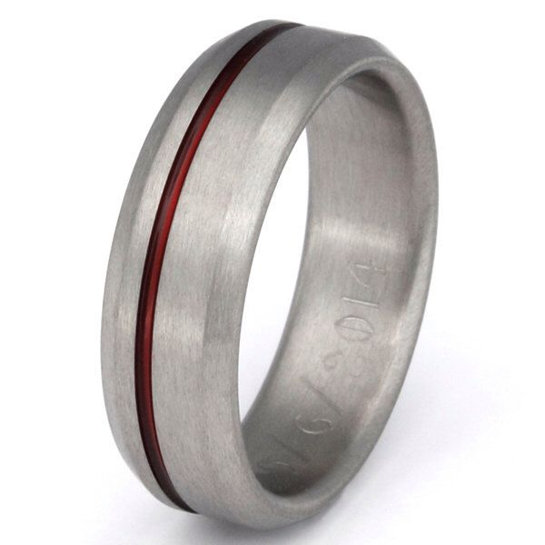 Thin Red Line Titanium Band - Firefighter's Ring - r25 by TitaniumRingsStudio on Etsy https://www.etsy.com/listing/110108812/thin-red-line-titanium-band-firefighters