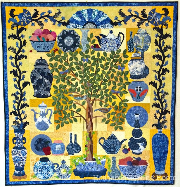 Heather's Sewing Room: Jungle Pottery Quilt, featuring a election of blue and white pottery.