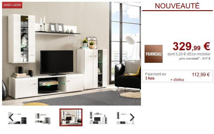 Mur Tv Loretta Avec Rangements Et Leds Pas Cher Meuble Tv Vente Unique Meuble Tv Meuble Tv Pas Cher Television Murale