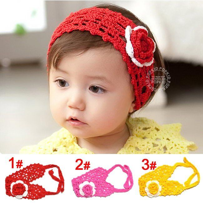 100% Crochet bébé bandeaux enfants tricot bande de cheveux fleur bandeau enfants filles chapeaux 3 couleurs 1 - 15 anos livraison gratuite(China (Mainland))