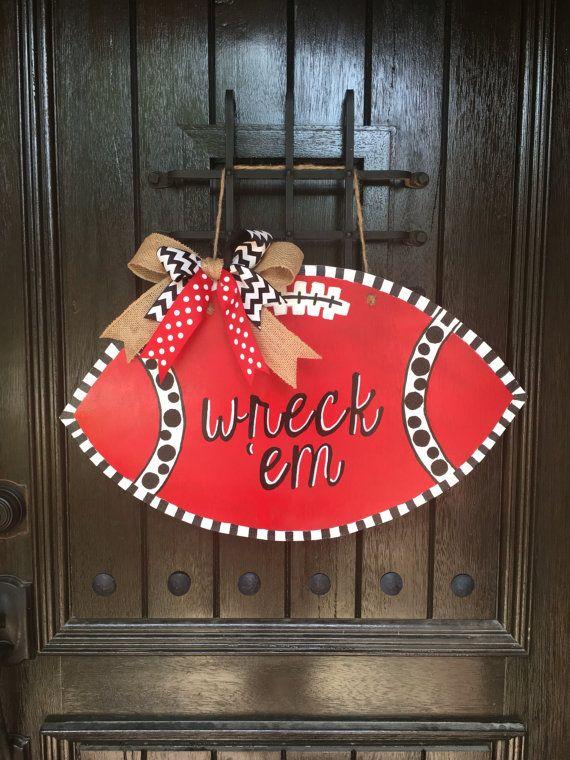 Texas Tech Football Door Hanger  Wooden Football by ShuffysSawdust