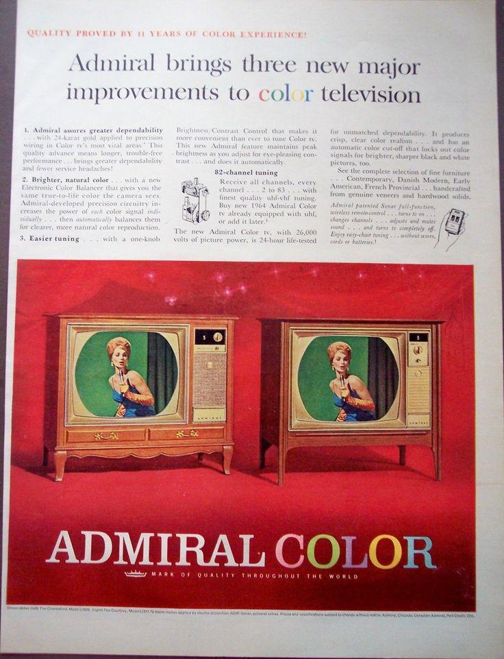 1964 Admiral Color Television w Sonar Remote Control Vintage TV Ad | eBay