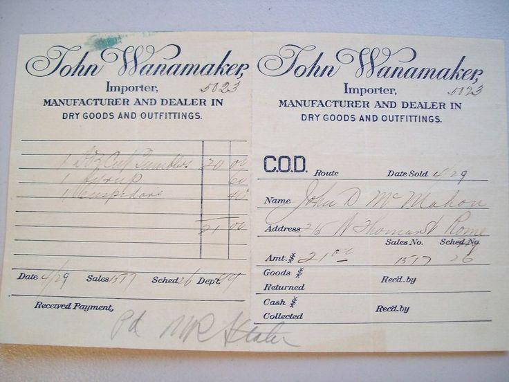 ANTIQUE 1929 Document John Wanamaker Importer Dry Goods Receipt to John McMahon, Auction, starting bid of $2