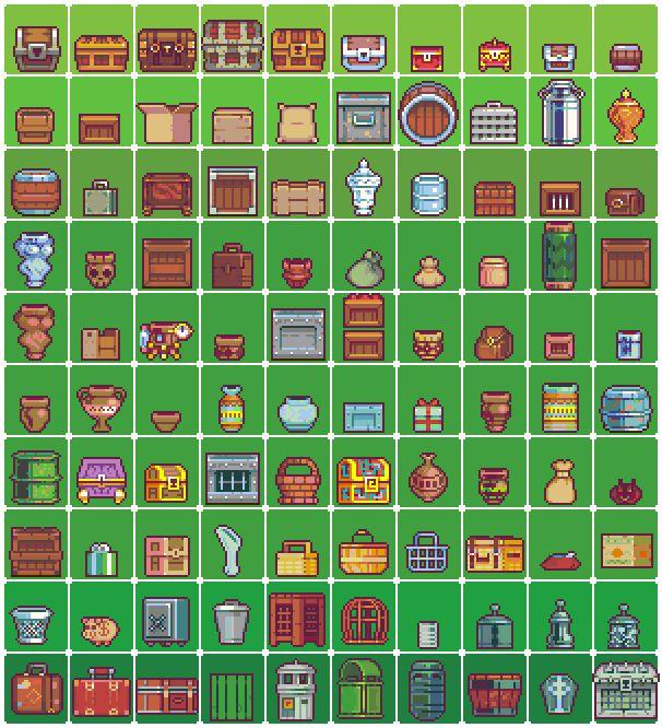 """2 x 100 Pixel Art Pieces: """"Containers + Furniture"""" Pixel Artist:neorice Source: deviantart.com(1)(2)"""