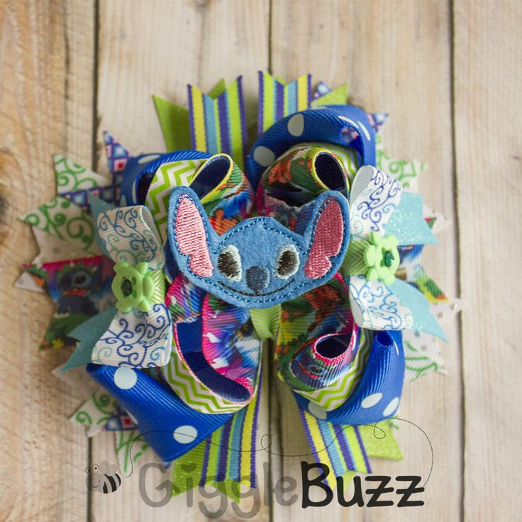 Lilo and Stitch Stacked Boutique Hair Bow-Lilo Hair Bow, Stitch Hair Bow, Lilo and Stitch Bow, Stacked Boutique Bow