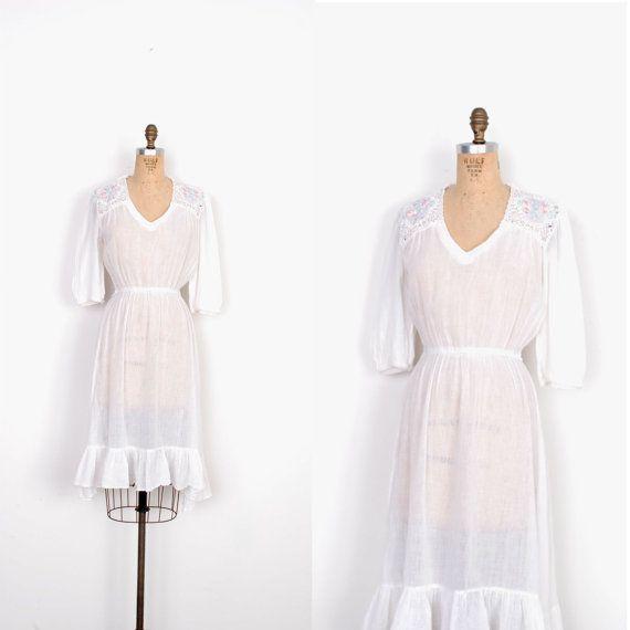 Vintage 1970s Dress / 70s Cotton Gauze Dress by lapoubellevintage