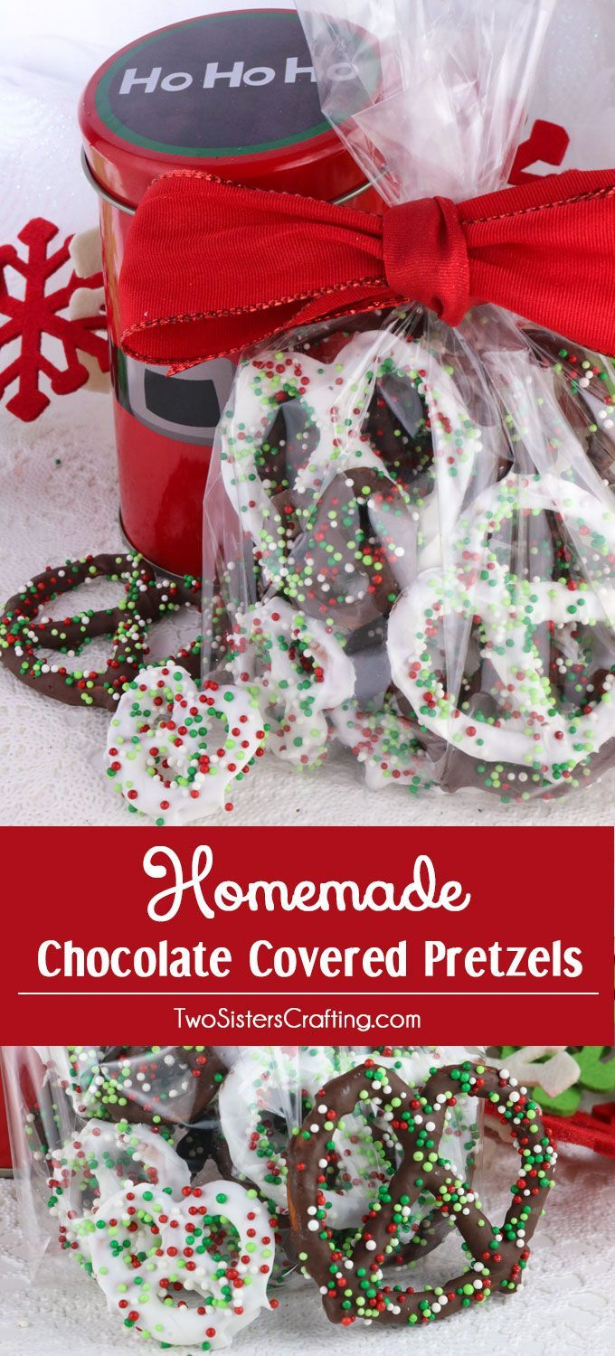 Homemade Chocolate Covered Pretzels - a very easy to make Holiday Food Gift, Christmas Teacher Gift or Christmas Treat for your family. Sweet, salty and delicious, this Christmas Dessert is fun and festive and delicious. Pin this Holiday Snack for later (Christmas Party Treats)