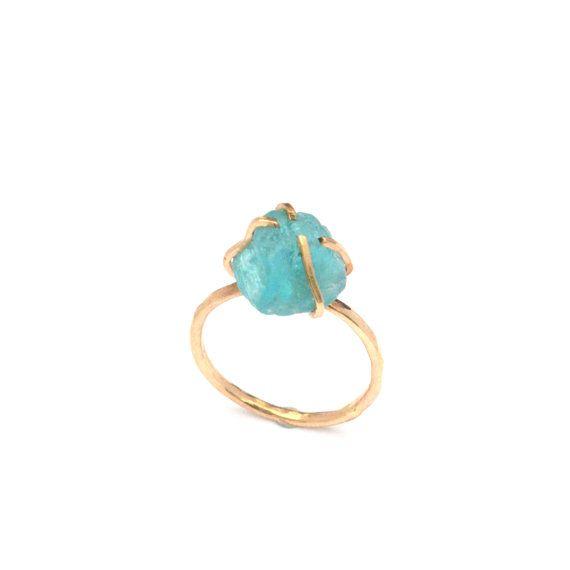 Mares anillo crudo apatita piedra en bruto