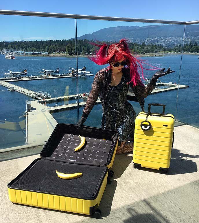 Minions and Away limited edition designer kawaii cute carry on and large suitcase! yellow travel smart tech luggage Minion. More on #lacarmina blog #minions http://www.lacarmina.com/blog/2017/07/away-minions-luggage-laforet-harajuku-shops-gothic-lolita/