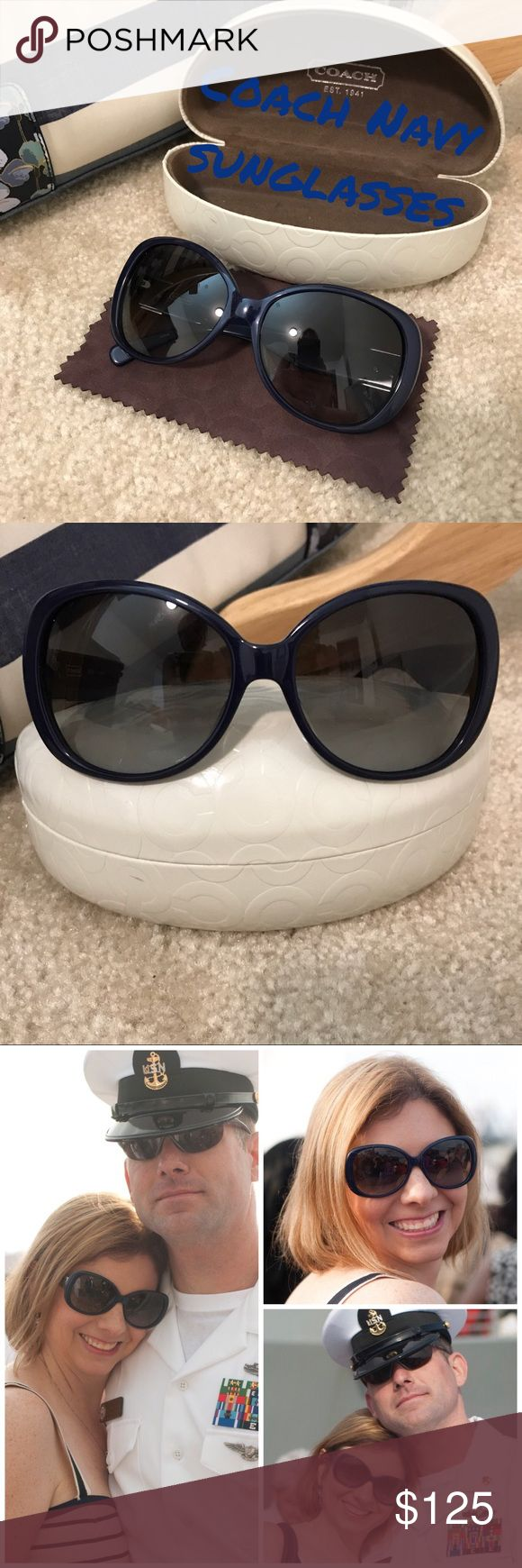 Coach sunglasses 🕶 Navy Authentic Coach sunglasses style #S2026 Navy..EUC..lenses are gray gradient, free from scratches..comes with original coach lens wipe & white hard coach case (there is a small mark on front of case and is shown in close up pic and far away pic)..size in mm is 57 x 16 x 130 (lens length x nose bridge length x temple length). Pics of me wearing them to show how they fit on. (2/20/18) Coach Accessories Sunglasses