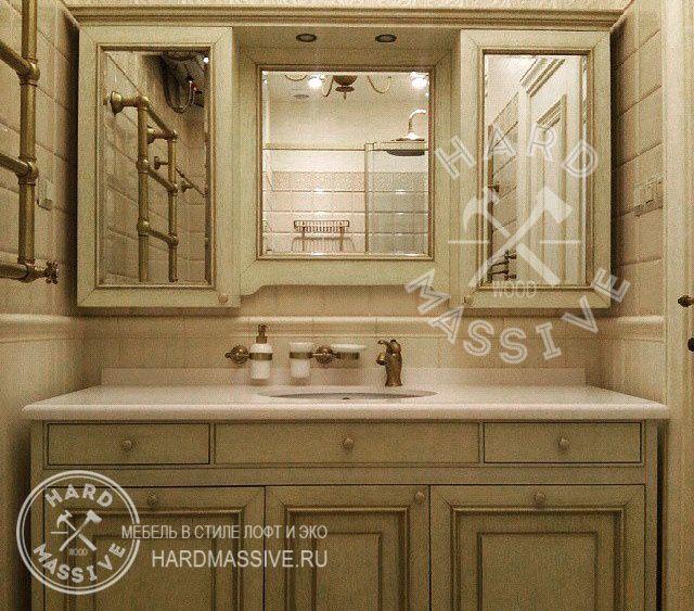 Тумба и навесной шкаф в ванную с зеркалом и подсветкой