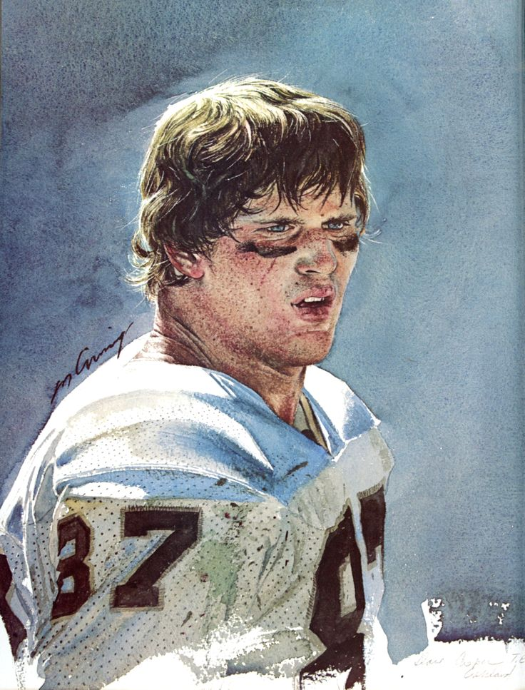 Dave Casper, Oakland Raiders Tight End. Portrait by Merv Corning 1977.