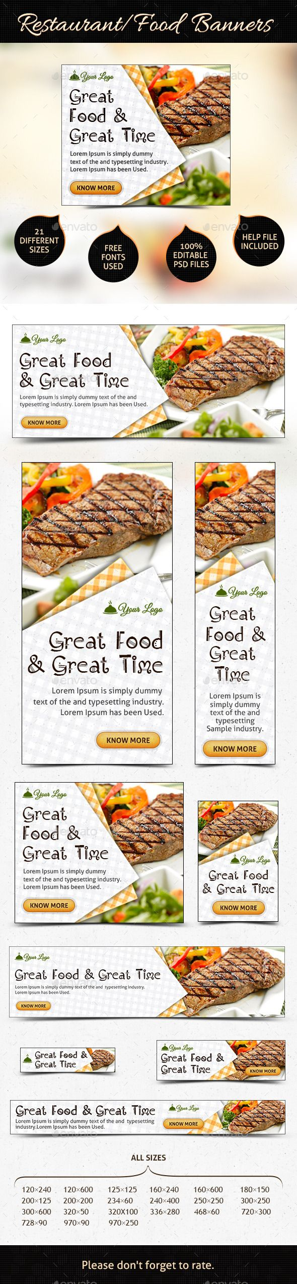 Restaurant Web Banner Ads Template #design #ads Download: http://graphicriver.net/item/restaurant-web-banner-ads/12369943?ref=ksioks