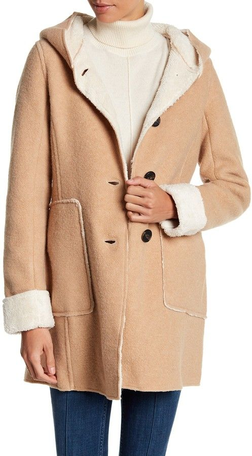 BCBGeneration Hooded Knit Faux Shearling Coat