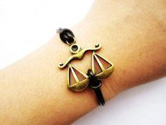 Scales of Justice leather bracelet