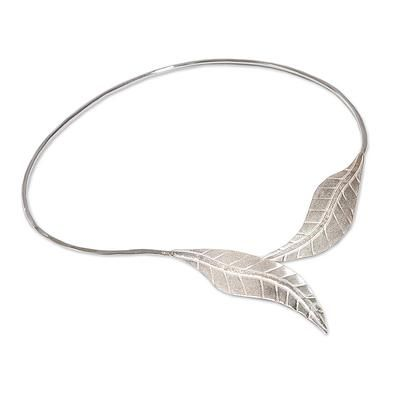 Handcrafted Leaf Sterling Silver Choker Necklace - Andean Frost | NOVICA