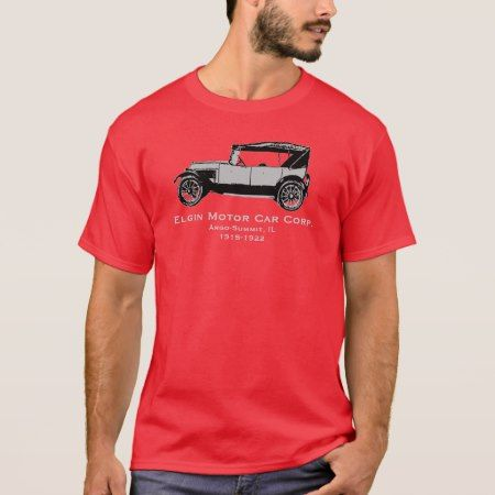 Elgin Motor Car shirt Argo-Summit IL If you are an antique Car Collector, this shirt is for you. Support the Summit Public Library Historical Archives witbh this commemorative Elgin 6 T-shirt