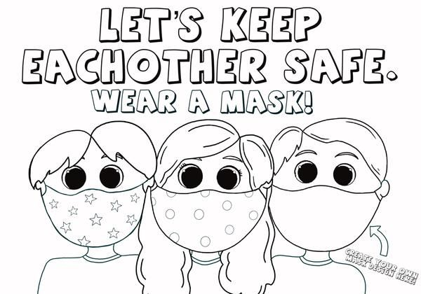 Kids Wearing Face Masks Coloring Page Coloring Pages School Coloring Pages Coloring Books