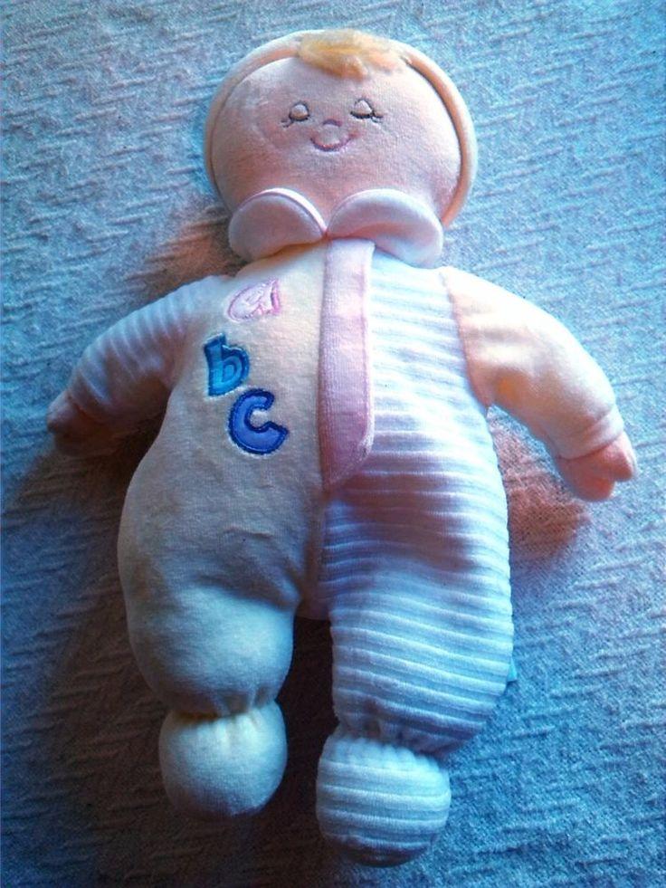 "RUSS BRIDGET Baby Rattle Doll Plush Toy Stuffed Soft Yellow Pink 13"" w/ bib ABC #RussBerrie $15"