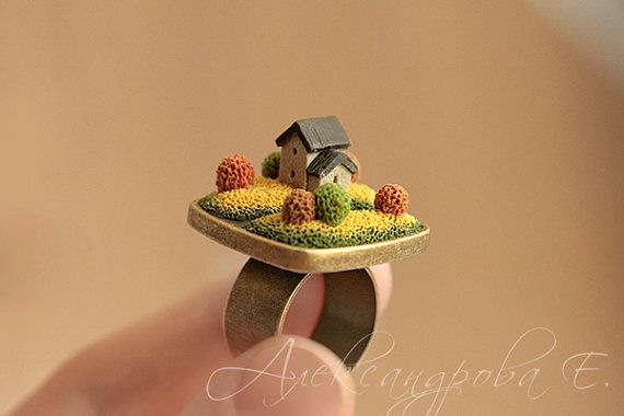 House ring  Home ring  Polymer clay miniature  от AleksPolymer